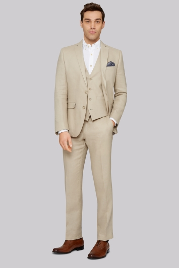 Moss 1851 Tailored Fit Stone Linen Jacket