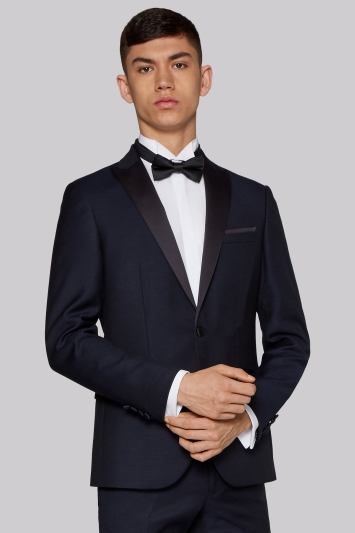 Moss London Slim Fit Navy Jacquard Dinner Jacket