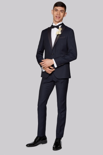 Moss London Skinny Fit Navy Jacquard Dinner Jacket