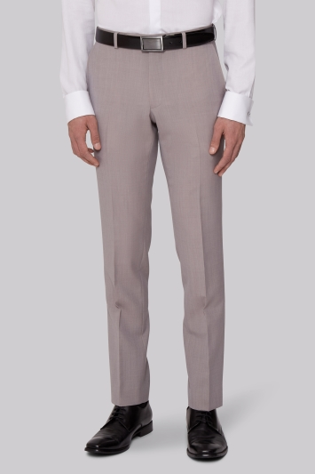 Moss London Slim Fit Neutral Dress Trousers