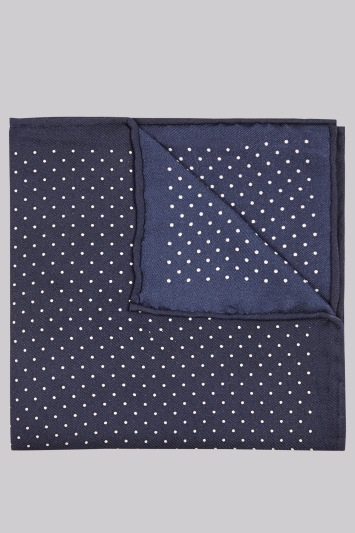 Moss London Premium Navy Border Spot Silk Pocket Square