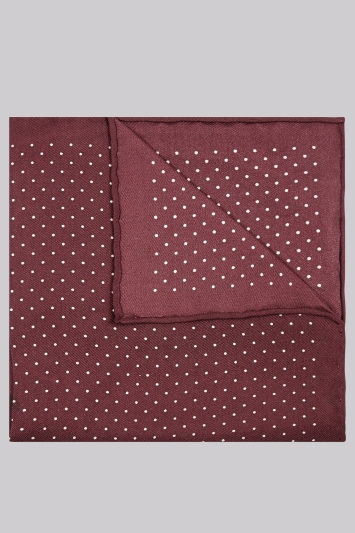 Moss London Premium Wine Border Spot Silk Pocket Square