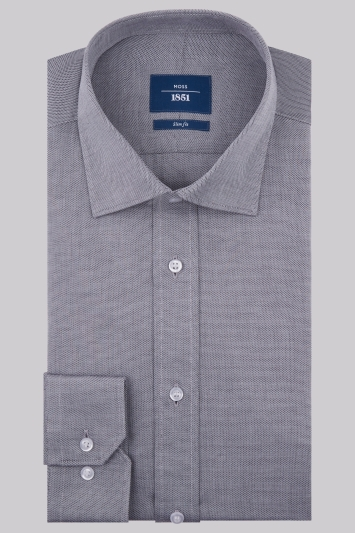 Moss 1851 Slim Fit Charcoal Single Cuff Textured Shirt
