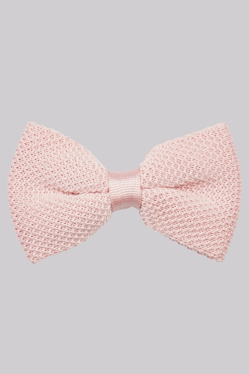Moss London Pink Knit Bow Tie