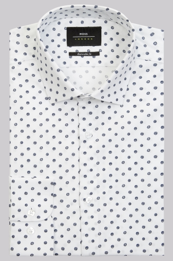 Moss London Extra Slim Fit White & Navy Single Cuff Spot Stretch Shirt