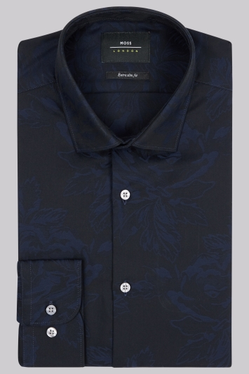 Moss London Extra Slim Fit Navy Single Cuff Rose Jacquard Shirt