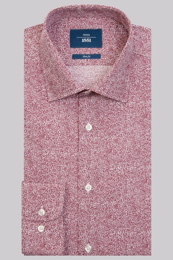 Moss 1851 Slim Fit Mulberry Single Cuff Floral Shirt