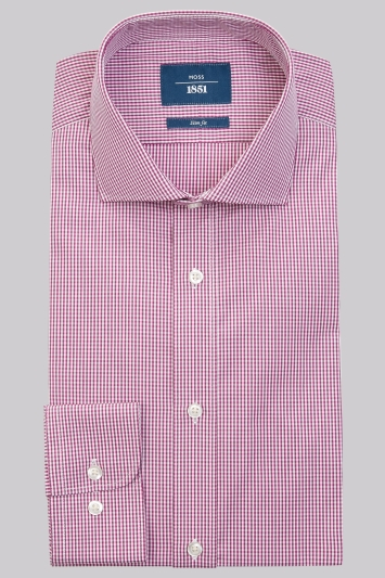 Moss 1851 Slim Fit Mulberry Single Cuff Gingham Shirt