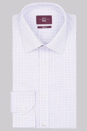 Moss Esq Regular Fit Lilac Single Cuff Twill Check Shirt