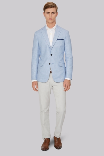 Hardy Amies Sky Linen Cotton Jacket