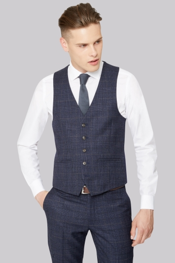 Moss London Skinny Fit Navy Black Check Waistcoat