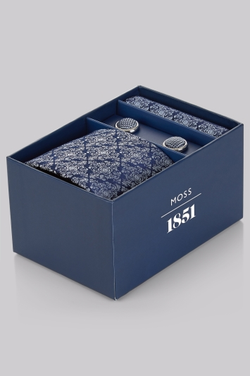 Moss 1851 Navy Medallion Tie, Pocket Square and Cufflink Gift Set