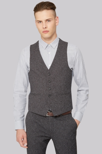Moss London Skinny Fit Charcoal Texture Waistcoat