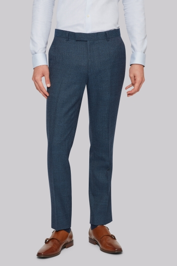 Moss London Skinny Fit Bright Blue Texture Trousers