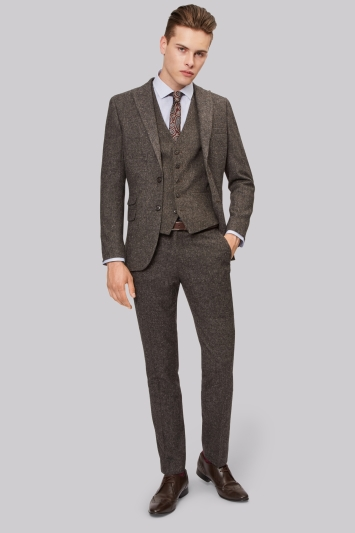 Moss London Skinny Fit Charcoal Donegal Jacket