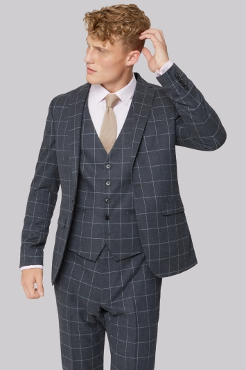 Moss London Skinny Fit Charcoal Windowpane Jacket