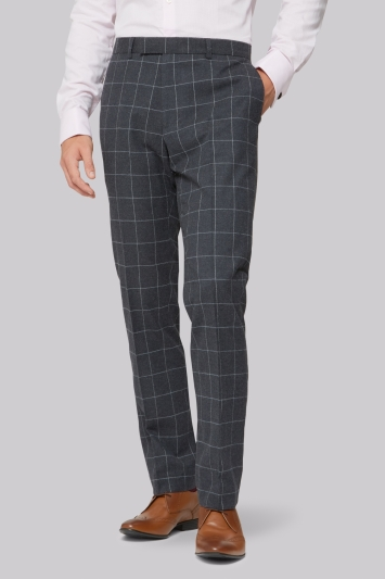 Moss London Skinny Fit Charcoal Windowpane Trousers