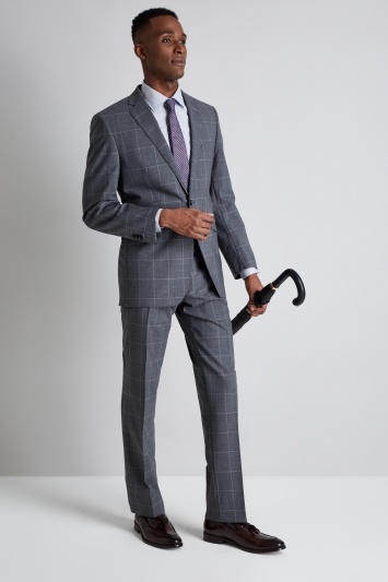 Savoy Taylors Guild Tailored Fit Grey Windowpane Suit
