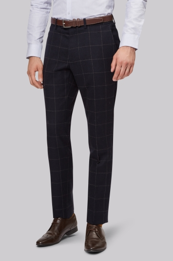 Moss London Skinny Fit Navy Camel Windowpane Trouser