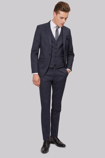 Moss London Skinny Fit Navy Pinstripe Jacket