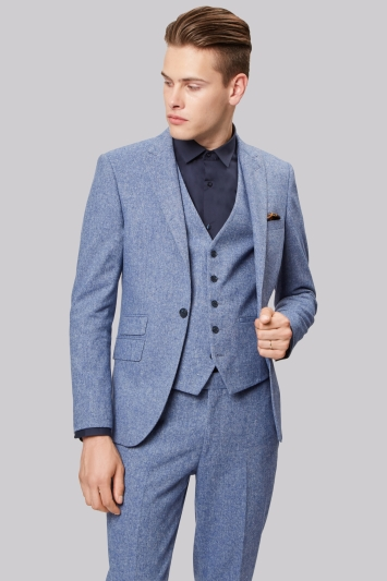 Moss London Skinny Fit Ice Blue Donegal Jacket