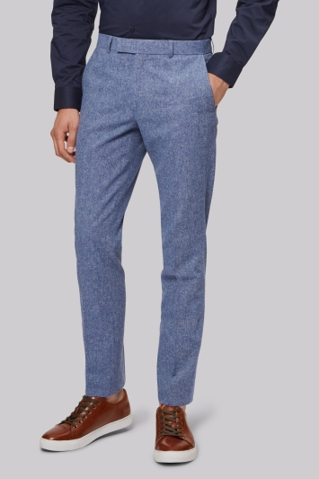 Moss London Skinny Fit Ice Blue Donegal Trouser