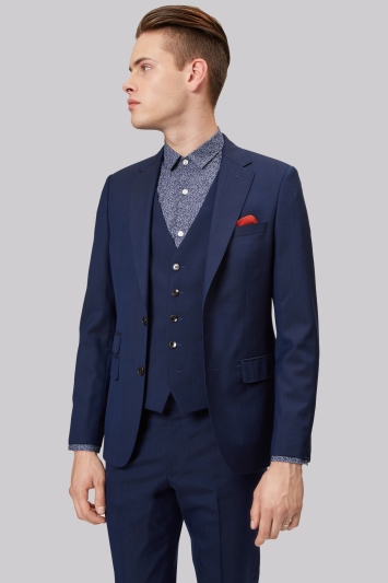 Moss London Skinny Fit Midnight Blue Jacket