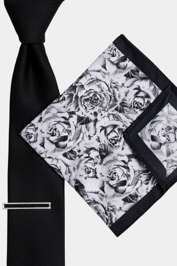 Moss London Black Rose Tie. Pocket Square and Tie Bar Set
