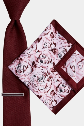Moss London Wine Rose Tie, Pocket Square and Tie Bar Set