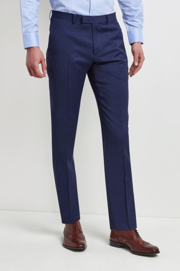 Moss 1851 Tailored Fit Bright Blue End on End Trouser