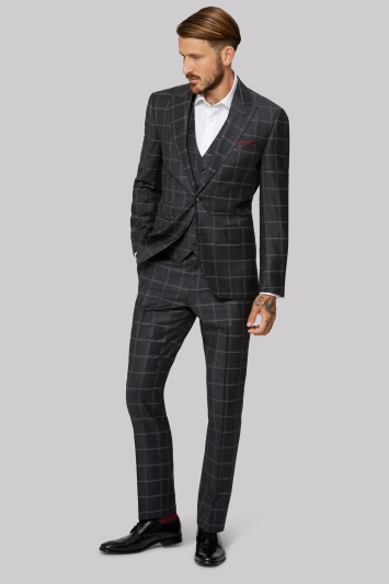 Moss 1851 Tailored Fit Italian Grey Windowpane Jacket