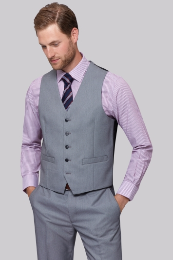 Moss Esq. Regular Fit Black & White Birdseye Waistcoat