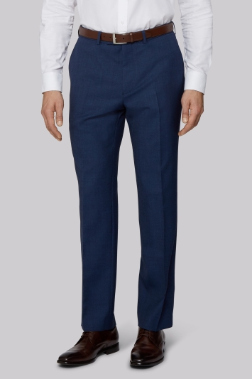 Savoy Taylors Guild Regular Fit Bright Blue Twisted Twill Trousers