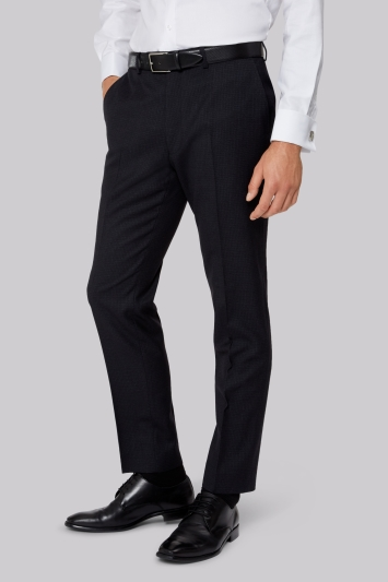 French Connection Slim Fit Navy Minicheck Trouser