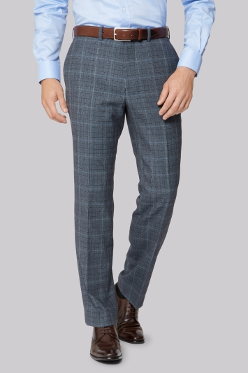 Savoy Taylors Guild Regular Fit Soft Blue Prince of Wales Check Trousers