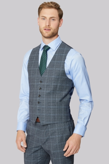 Savoy Taylors Guild Regular Fit Soft Blue Prince of Wales Check Waistcoat