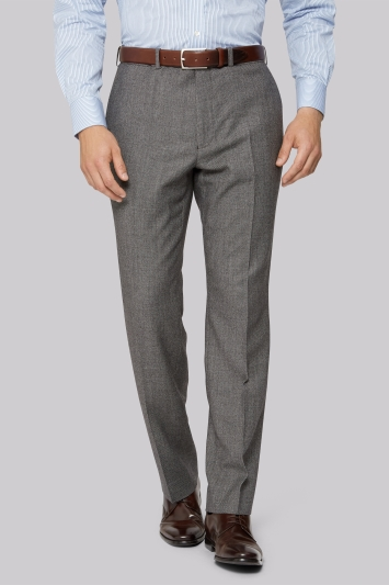 Savoy Taylors Guild Regular Fit Neutral Milled Birdseye Trousers