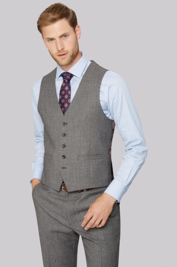 Savoy Taylors Guild Regular Fit Neutral Milled Birdseye Waistcoat