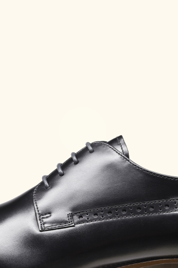John White Ainesworth Black Punched Derby Shoe