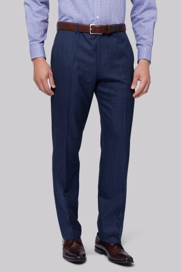 Moss Esq. Regular Fit Indigo Sharkskin Trousers