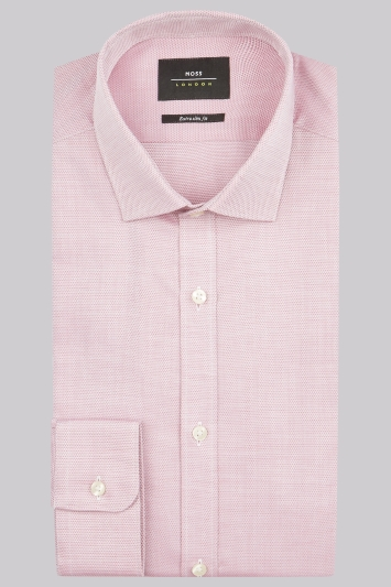 Moss London Premium Extra Slim Fit Pink Single Cuff Textured Dobby Shirt