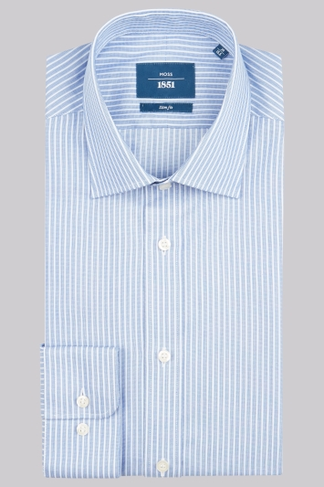 Moss 1851 Slim Fit Blue Single Cuff Puppytooth Stripe Shirt