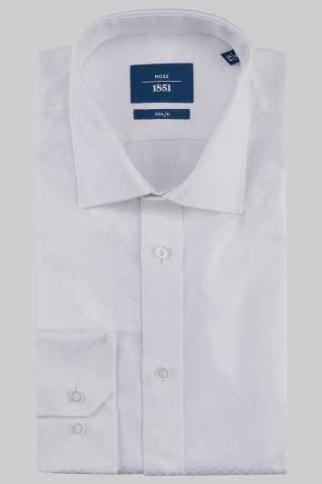 Moss 1851 Slim Fit White Single Cuff Jacquard Spot Shirt