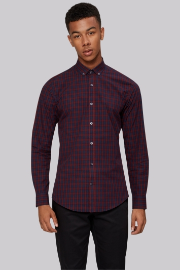 Moss London Extra Slim Fit Wine and Navy Check Button Down Casual Shirt