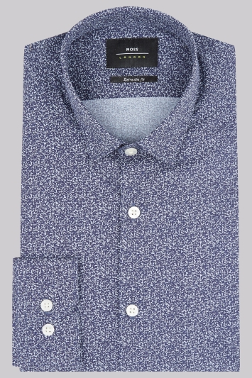 Moss London Extra Slim Fit Blue Print Casual Shirt