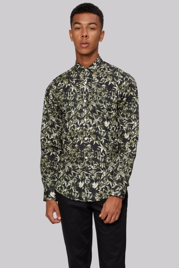 Moss London Extra Slim Fit Green Botanical Print Casual Shirt