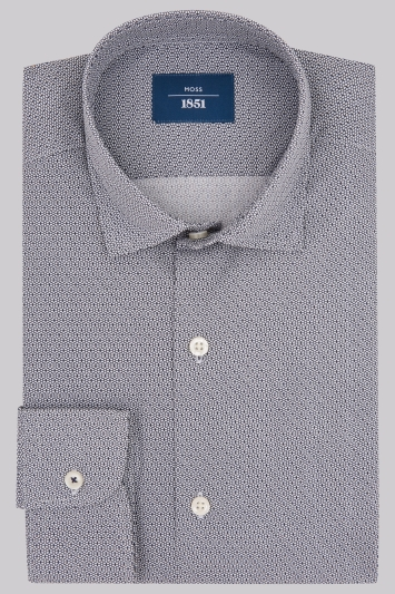 Moss 1851 Slim Fit Navy Small Geo Print Casual Shirt