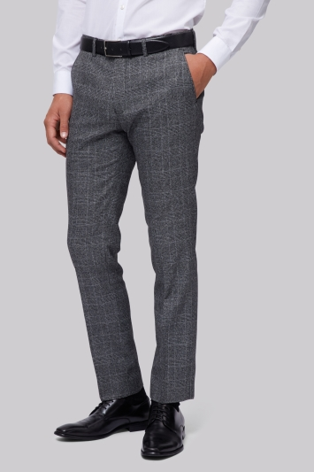 Moss London Slim Fit Machine Washable Grey POW Check Trousers