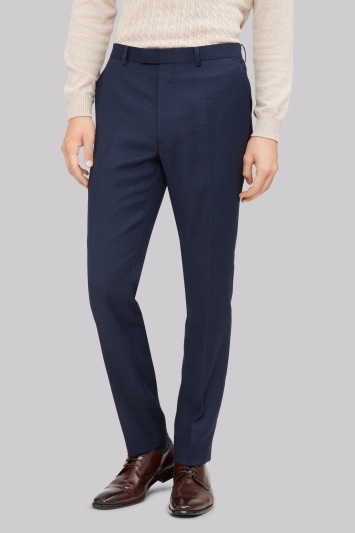 French Connection Slim Fit Navy Jacquard Trousers