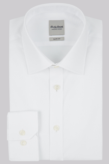 Hardy Amies Slim Fit White Single Cuff Textured Shirt